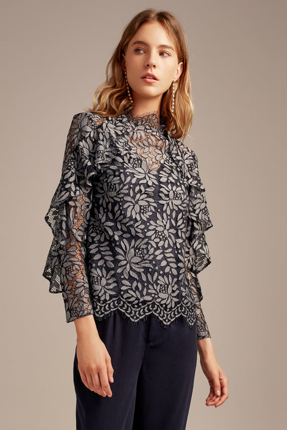 ENGAGE LACE TOP NAVY