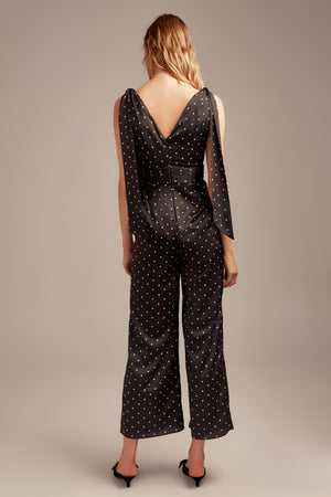 HOLD BACK JUMPSUIT BLACK/BLUSH POLKADOT