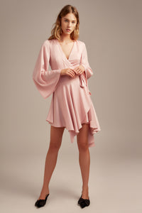OCEANS LS WRAP DRESS BLUSH
