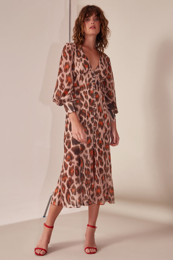 SWEET THING LS DRESS NUDE LEOPARD