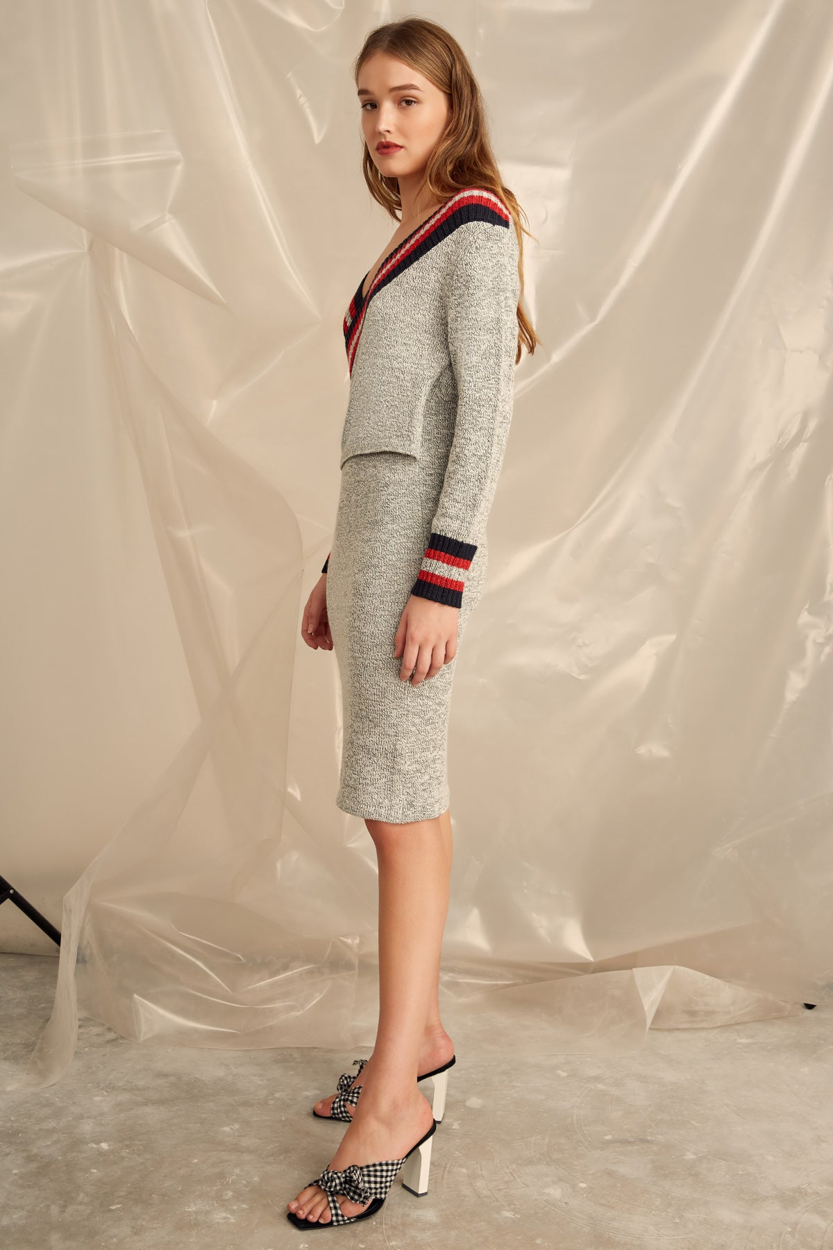 SCULPT KNIT DRESS GREY