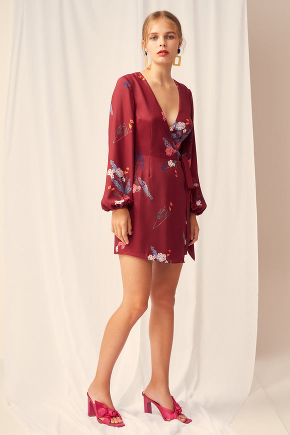 HURRICANE WRAP MINI DRESS
