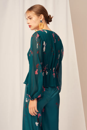 NIGHT FALL TOP EMERALD FLORAL