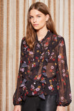 KEYSTONE LS TOP BLACK FLORAL
