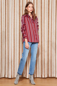 VOLLEY STRIPE LS SHIRT WINE/RED