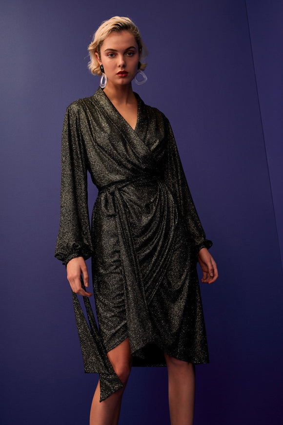 C/MEO Alight midi dress in Black metallic colour. Functional wrap stretch fabric with metallic sparkle, waist tie and balloon sleeve with cuff ties. Blush and Lace, Oakville, boutique, dress, sparkly, fancy, glittery, stylish.