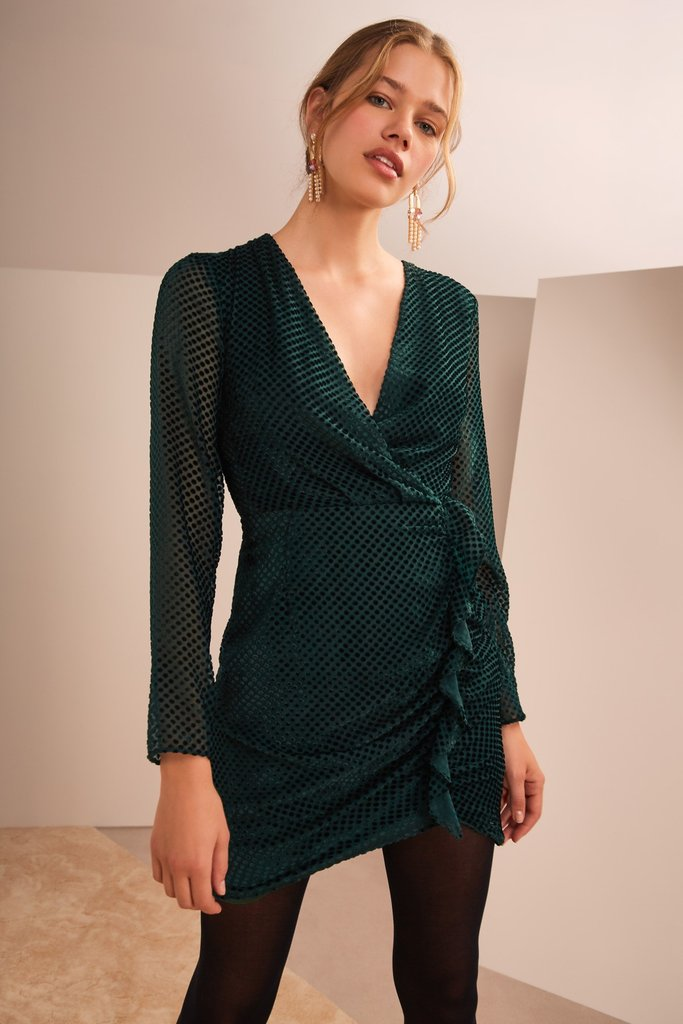 ODYSSEY MINI DRESS FOREST GREEN