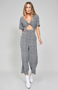 CHECK MESH TWIST JUMPSUIT