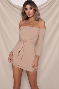 Jennifer mini dress by Runaway The Label. Off the shoulder, ribbed, lettuce edge, long sleeve, tie up bow around waist, fitted, mini, Blush and Lace, fashion, boutique, women, Oakville, Ontario.