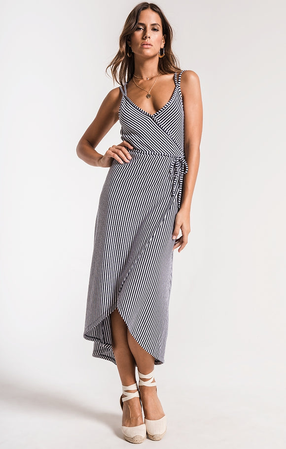 The Capri wrap dress black iris/white by ZSupply. Stripe knit, wrap dress, spaghetti strap, v-neck, cross back, Blush and Lace, boutique, Oakville, women's high quality fashion.
