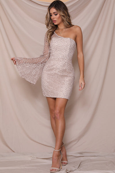 Confetti mini dress by Runaway the label Australia. Fitted design, one sleeve, lace mesh, sequin, one side wide arm, Blush and Lace, boutique, Oakville, Ontario, fashion.