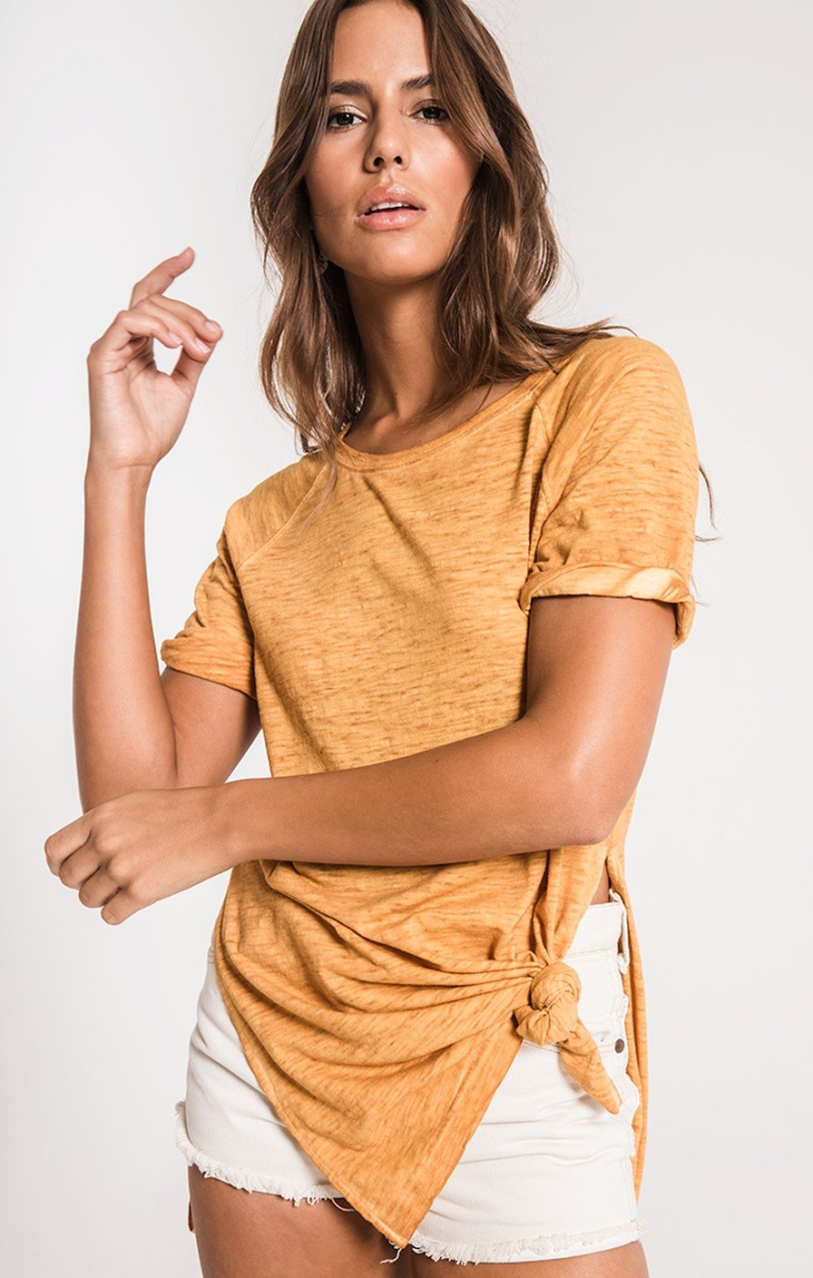 THE AIRY SLUB SLIT TUNIC-MUSTARD GOLD