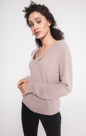 THE SOFT SPUN KNIT CROSS FRONT PULLOVER MYSTIC MAUVE
