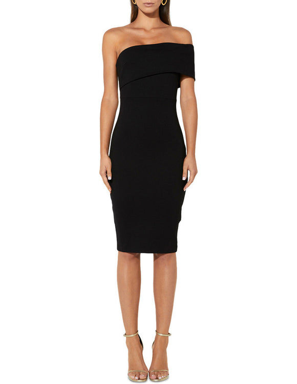 The Just Maybe Dress by Mossman. Black dress, silhouette, stretch fabric, invisible centre back zip, split in the back hem, midi length, fitted, Blush and Lace, women's fashion, boutique, online, trendy, unique, dresses, casuals, Oakville, Toronto.