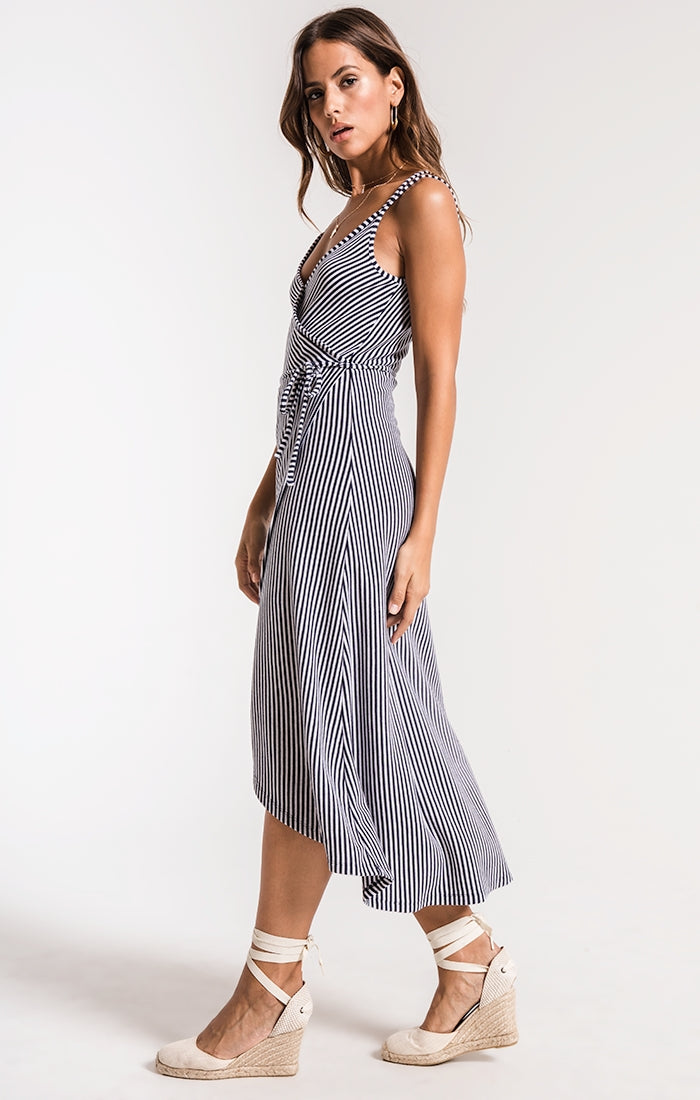 THE CAPRI WRAP DRESS-BLACK IRIS/WHITE
