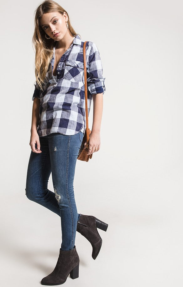 PAOLA VINTAGE INDIGO PLAID TOP