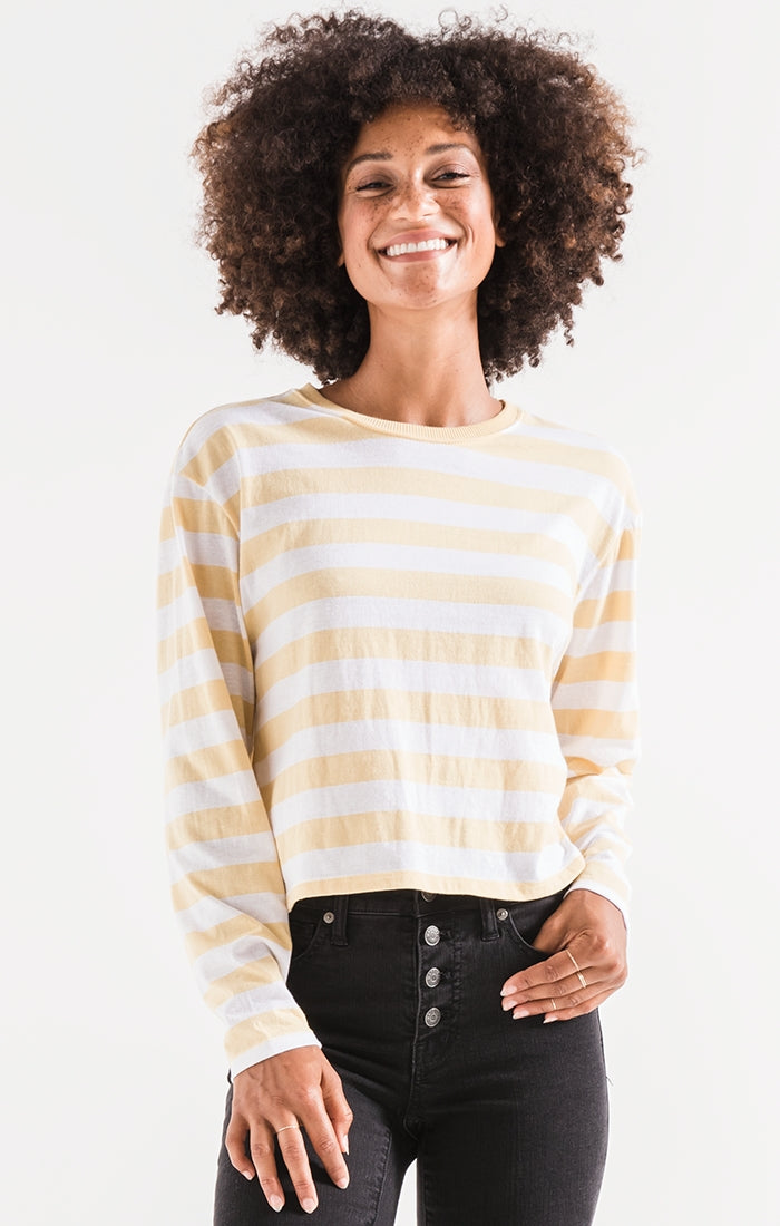 THE SIENNA SKIMMER STRIPE TEE YELLOW-CREAM BY ZSUPPLY. LONG SLEEVE, TEE, YELLOW STRIPE, CREAM, RELAXED FIT, BLUSH AND LACE, BOUTIQUE, OAKVILLE, WOMEN, STYLE, CLOTHING.