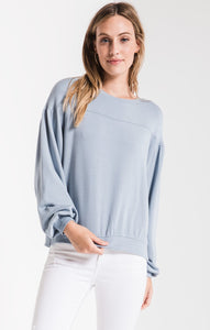 THE ELIZABETH PULLOVER FLEECE-DUSTY BLUE COLOUR BY Z SUPPLY.  A pullover with feminine details, soft fabrics, dropped shoulders, rib banding at the neck, sleeves and bottom hem, back yoke detailing and a relaxed fit. Z supply, Blush and Lace, Oakville boutique, women's fashion, comfort, style.