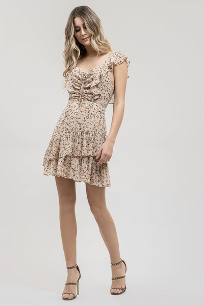 RUCHED FRONT RUFFLED DRESS