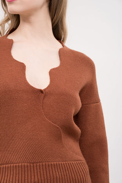 SCALLOPED EDGE WRAP SWEATER