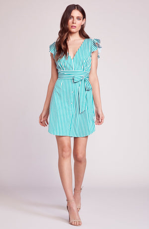 PEPPERMINT SHIRT DRESS MISTY JADE BY BB DAKOTA. STRIPED, COTTON, SHIRT, DRESS, TIE WAIST, SLEEVELESS, BLIUSH AND LACE, FASHION, OAKVILLE, ONTARIO,  BOUTIQUE.