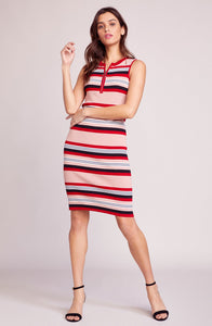 Worth the stripe pink lemonade dress by BB Dakota is a fitted knee length rib knit with a zip neckline. Pink lemonade, striped, front zip, knee length, dress, BB Dakota, Blush and Lace, Oakville, Boutique, women's fashion, trendy, upscale.