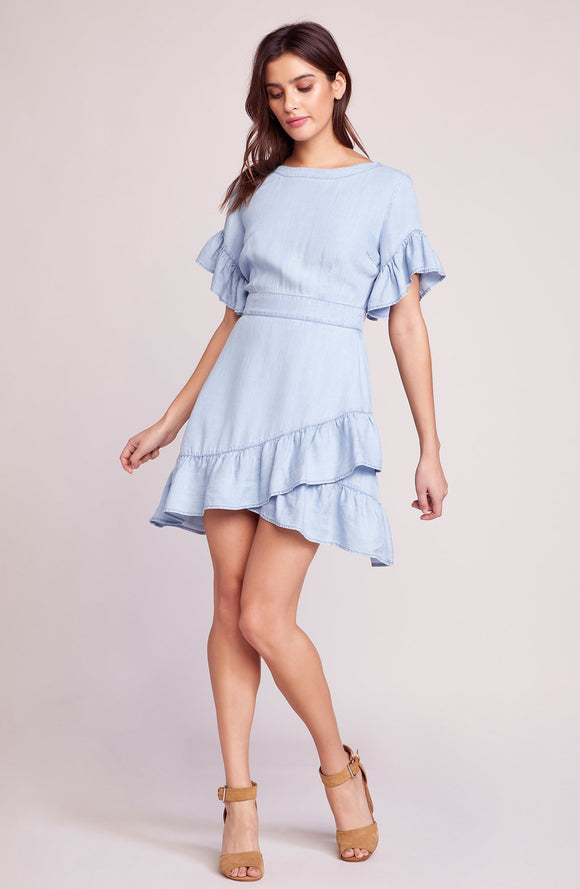 Indigo dreams chambray dress by BB Dakota is a soft tencel with ruffle and trim and faux wrap skirt. Indigo, soft tencel, dress, faux wrap skirt, BB Dakota, Blush and Lace, fashion, women's boutique, women's, Oakville, Ontario, style.