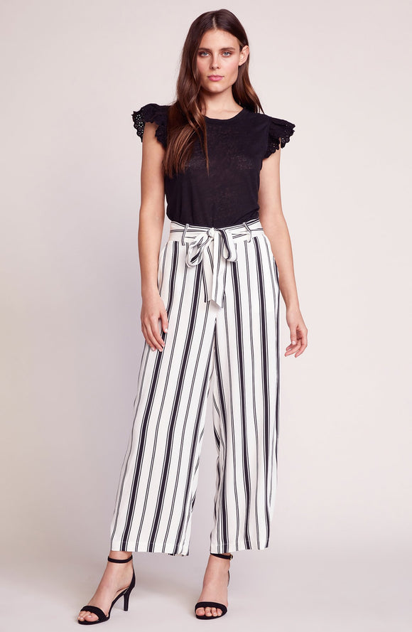 Optic White belt with you pants by BB Dakota. Stripe print, Rayon pants, tie belted waist, BB Dakota, Blush and Lace, Oakville, fashion, women's, trendy, quality pieces, Toronto, boutique.