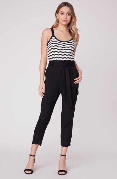 Blck precious cargo pants by BB Dakota.  Cargo pant, tapered leg, cargo style pocket, tie belted high waist, Blush and Lace, women's fashion, trendy, quality, upscale, Oakville, Boutique.