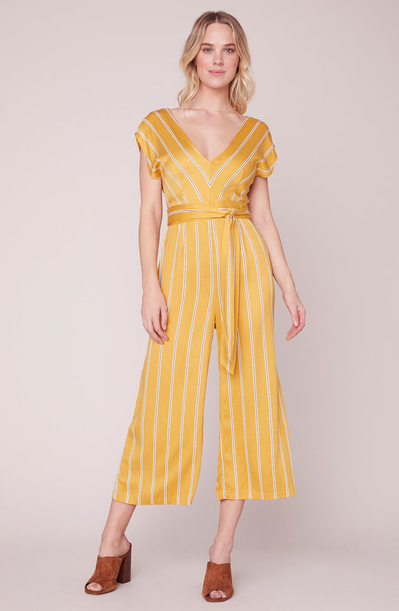 Set All The Right Moves Sunset Jumpsuit by BB Dakota. Jumpsuit, yellow sunset, bb dakota, stripes, belted, cropped, Blush and Lace, boutique, Oakville, women's fashion, trendy, upscale, Toronto, Ontario, Mississauga, Brampton, Milton, boutique.