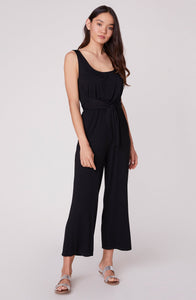 Better Off black jumpsuit by BB Dakota. Jumpsuit, black, spandex, scoop neckline, cropped leg, tied waist, Blush and Lace, fashion, women's, trendy, high quality, dresses, Oakville, Boutique.