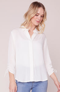 Knot Kidding Ivory Top by BB Dakota. Ivory, Ryon shirt, button, knot detail on back, Blush and Lace, BB Dakota, Oakville, boutique, unique, women's fashion.