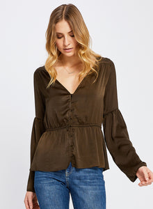 Blush and Lace, Oakville Boutique, Gentle Fawn, beautiful satin-like, long sleeve blouse. Has a sexy style v-neck with button detail down center.