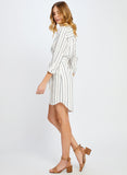NIKKI WHITE SARTORIAL STRIPE DRESS