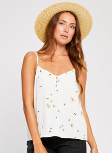 Kelly white rose bud tank by gentlefawn. Tank top, white, yellow flowers, light, Blush and Lace, Oakville, boutique, women's fashion, trendy, clothing.
