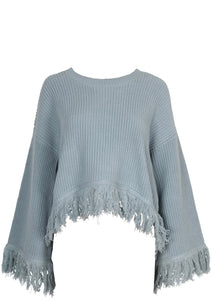 Be free knit jumper, relaxed fit, wide sleeves with fringe detailing at hem and cuffs. Blush and Lace Oakville