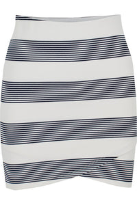 Cross Front Mini skirt by Bishop & Young. Black stripes, mini, skirt, cross front, blush and lace, fashion, women, Oakville, boutique.