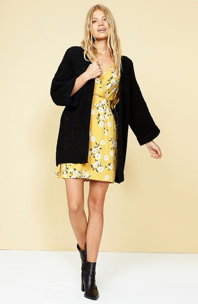 KNIT OVERSIZED CARDIGAN BLACK