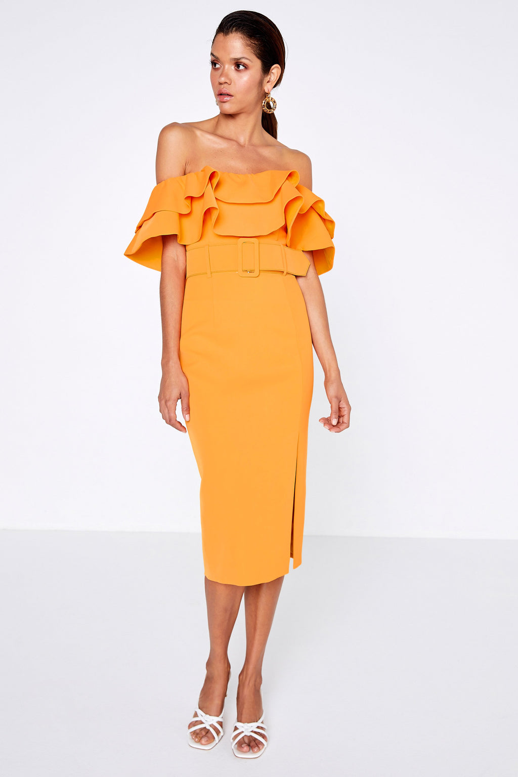 Island Nights dress citrus by Mossman. Dress, belted, ruffle sleeves, front slit, boutique, midi length, off the shoulder, Blush and Lace, Oakville, Mississauga, Toronto, Milton, Burlington, fashion, upscale.