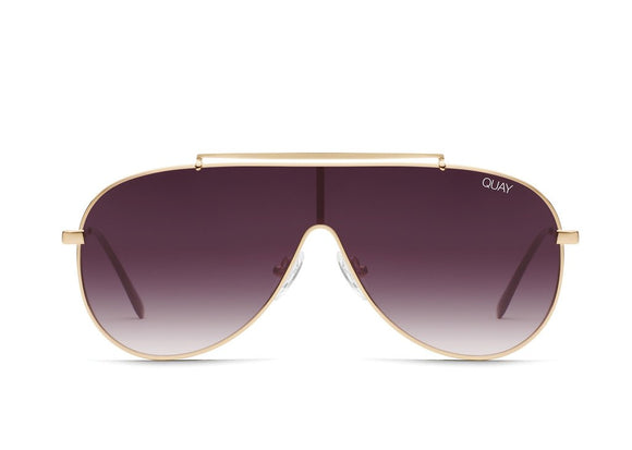 QUAY AUSTRALIA X JLO SUNGLASSES EL DINERO GOLD/PURPLEFADE. Jlo, Quay Australia, Quay,  El Dinero, flat fade lens, rounded metal frame, Blush and Lace, boutique, Oakville, women's fashion, trendy, Toronto.