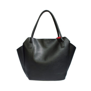 Rachel tote large by pixie mood. Vegan leather, black, 2 in 1, red lining, Blush and Lace, boutique, Oakville, women's, upscale, unique, accessories, dresses, jeans,  trendy, Toronto.