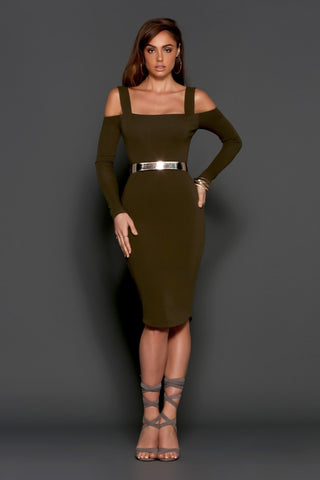 Hostage dress khaki by Runaway Australian label. Off shoulder knit, midi dress, cut out bands acrosss the back, Blush and Lace, Oakville, Ontario, Boutique, fashion, women, upscale, trendy, styles.