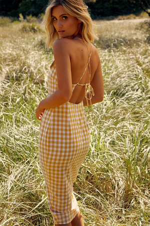 KIRSTY CHECK DRESS YELLOW