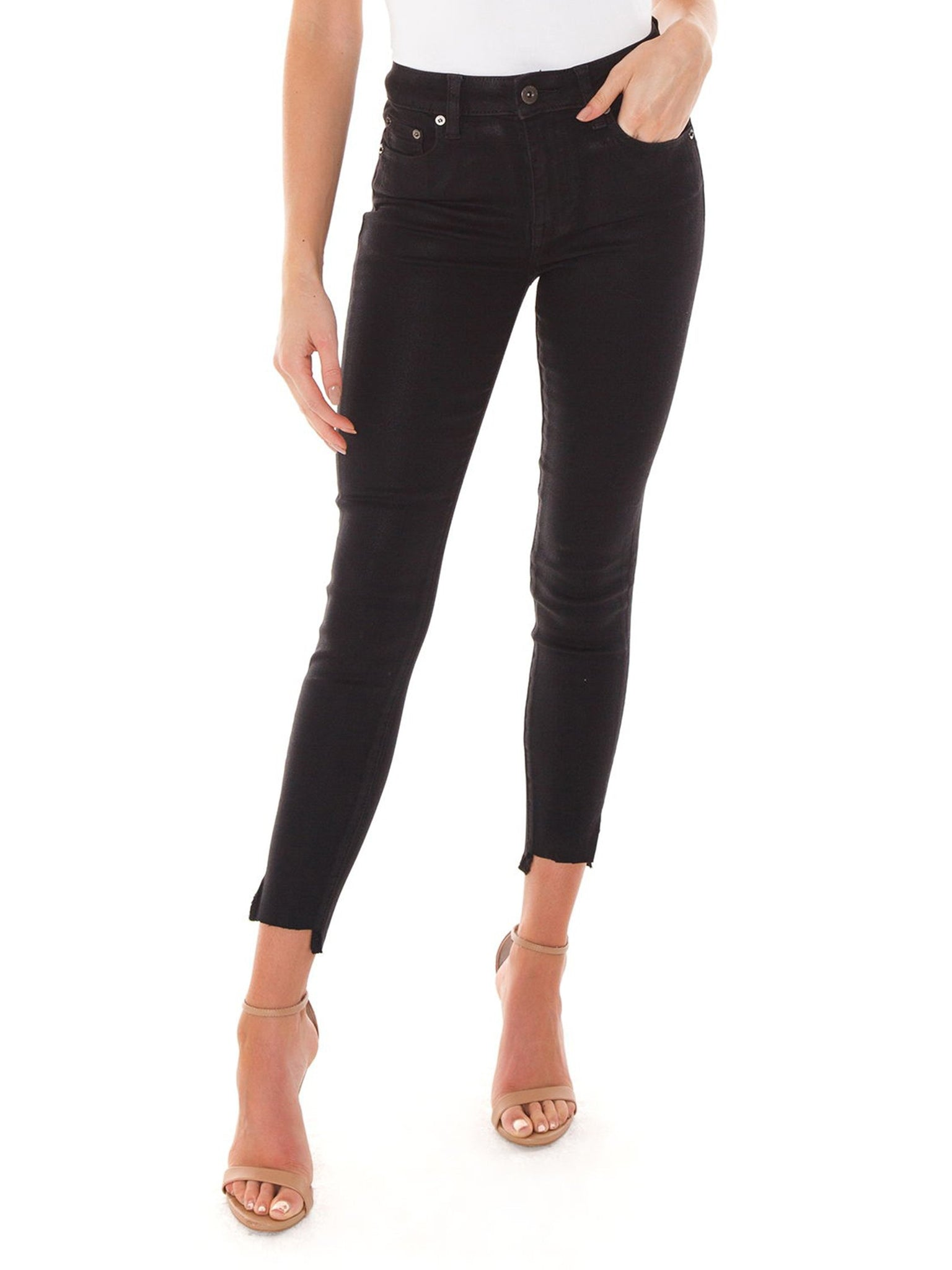 Aline high rise skinny black pant slick Pistola denim. Shiny, side bottom slits, shorter front hem. Blush and Lace, Oakville, boutique, pants, classy, fashionable, denim.