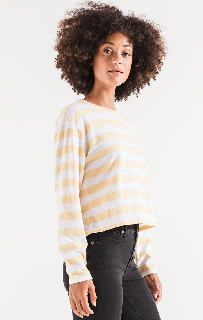 THE SIENNA SKIMMER STRIPE TEE-YELLOW CREAM