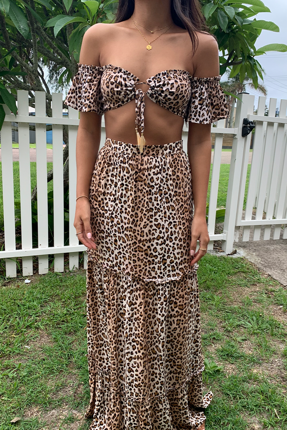 Preminition Chelsea Maxi Dress Leopard. Skirt, long, flowy, leopard, blush and lace, fashion, boutique, accessories, dresses, pants, outerwear, casuals, unique styles, Oakville, boutique.