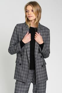 DRA's trendy Anthony cobblestone plaid jacket is an effortless menswear inspired ensenble. Its double breasted with classic Cobblestone plaid of blue and black against a marled grey ground. Blush and Lace boutique Oakville.