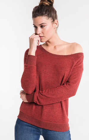 THE MARLED OFF SHOULDER PULLOVER - RUSSET HENNA