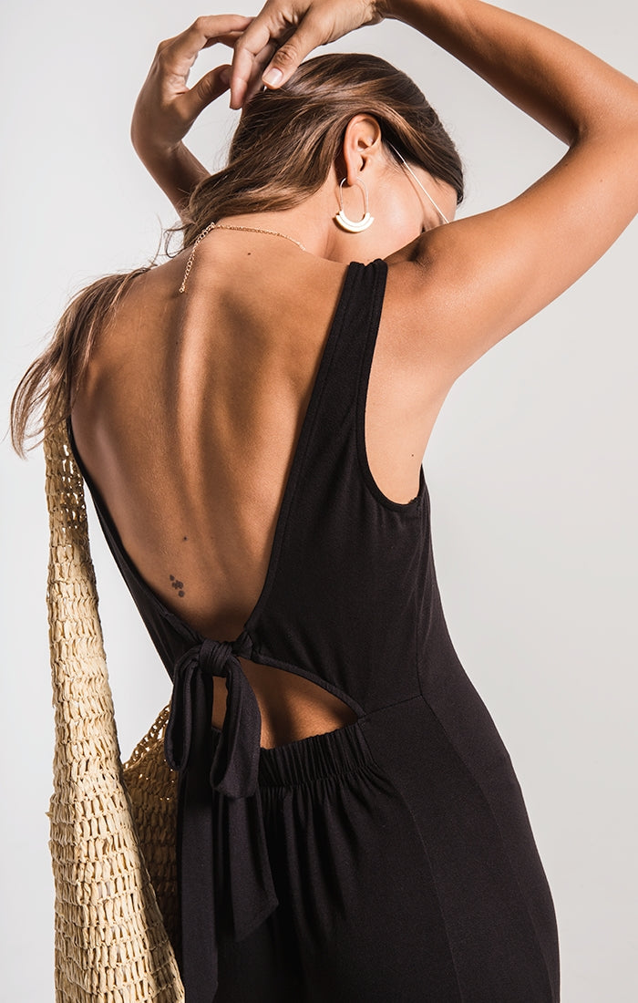 THE MADELINE TIE BACK DRESS-BLACK
