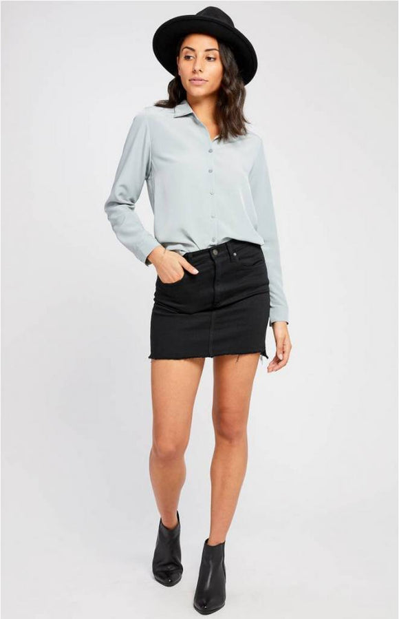 TALLULAH GRANITE TOP BY GENTLE FAWN. Button down blouse, tie detail at back. Blush and Lace, fashion, boutique, women, trendy, Oakville.
